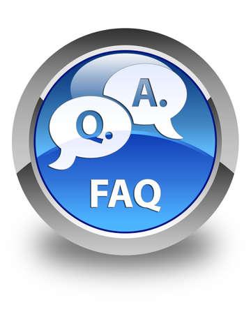 answer: Faq (question answer bubble icon) glossy blue round button