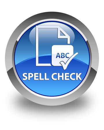 paper spell: Spell check document glossy blue round button