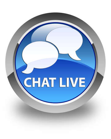 instant message: Chat live glossy blue round button Stock Photo