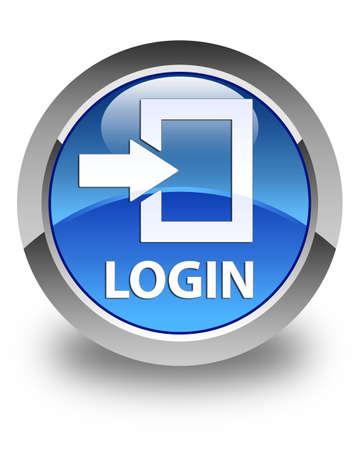 blue button: Login glossy blue round button Stock Photo