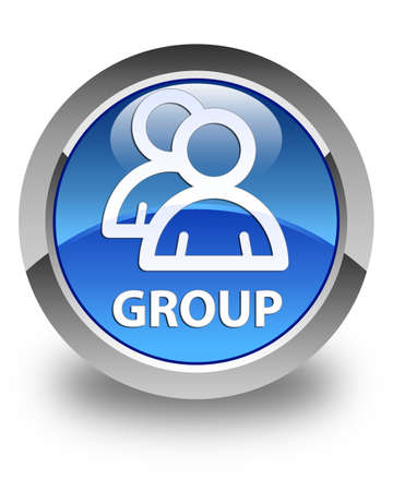 glossy button: Group glossy blue round button Stock Photo