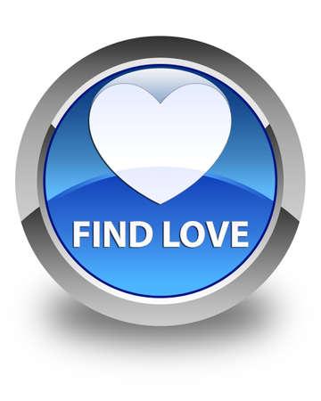 valentin's: Find love glossy blue round button Stock Photo