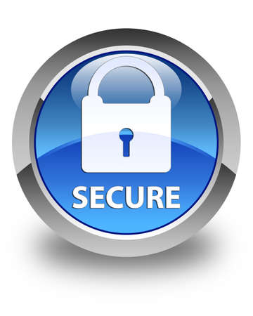 padlock icon: Secure (padlock icon) glossy blue round button