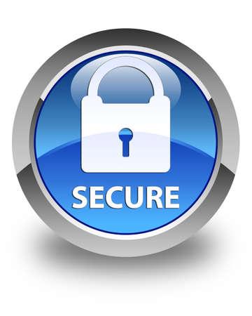 key hole shape: Secure (padlock icon) glossy blue round button