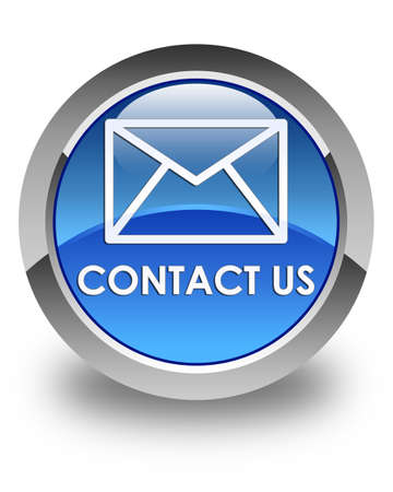 email contact: Contact us (email icon) glossy blue round button Stock Photo