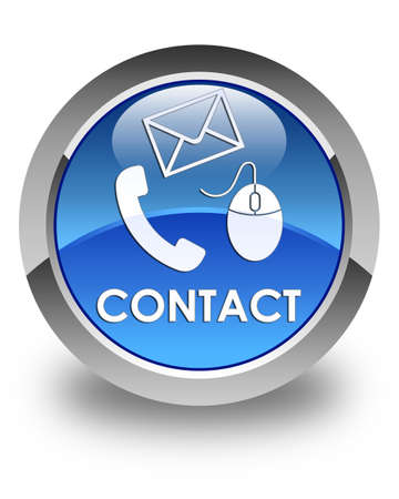 email contact: Contact (phone, email and mouse icon) glossy blue round button