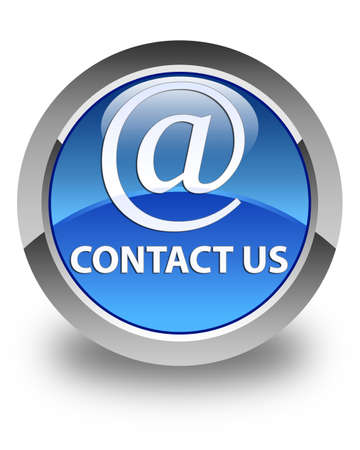 flysheet: Contact us (email address icon) glossy blue round button Stock Photo