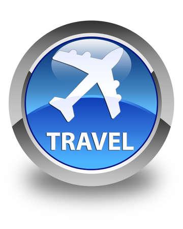 airway: Travel (plane icon) glossy blue round button Stock Photo