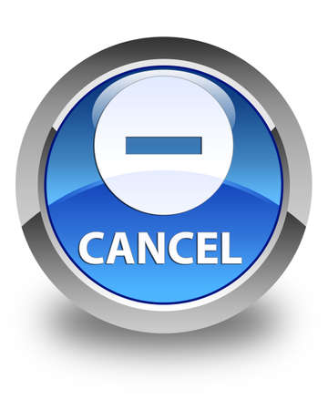 abort: Cancel glossy blue round button Stock Photo
