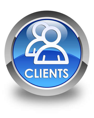 job satisfaction: Clients (group icon) glossy blue round button Stock Photo