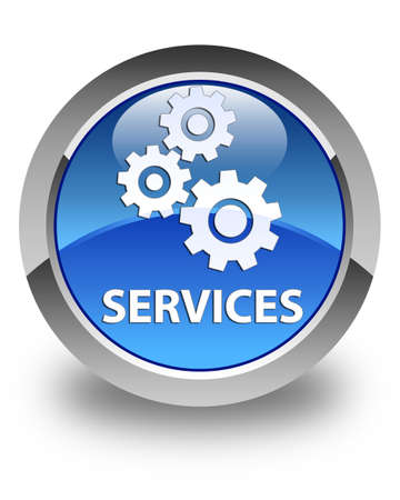glossy button: Services (gears icon) glossy blue round button Stock Photo