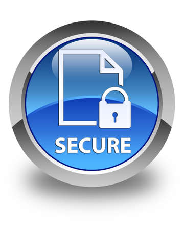 safeguarding: Secure (document page padlock icon) glossy blue round button