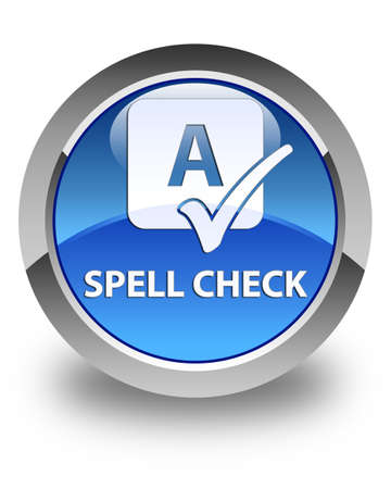 ok sign language: Spell check glossy blue round button