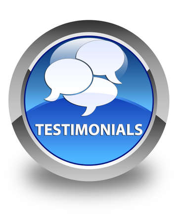 comments: Testimonials (comments icon) glossy blue round button
