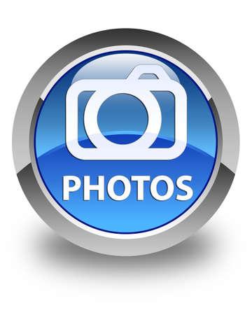 写真 (カメラのアイコン) 光沢のある青い丸ボタン