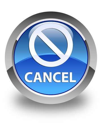 abort: Cancel (prohibition sign icon) glossy blue round button