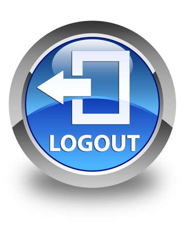 stop icon: Logout glossy blue round button Stock Photo