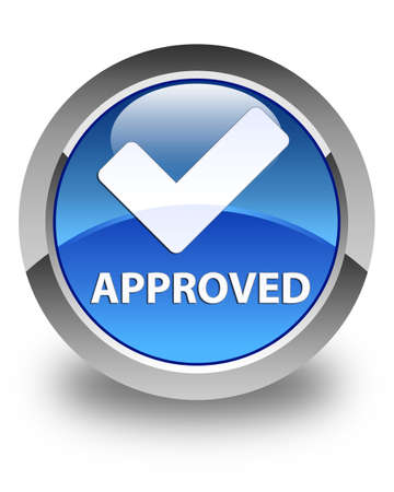 validate: Approved (validate icon) glossy blue round button Stock Photo