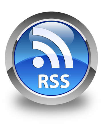 button glossy: RSS glossy blue round button
