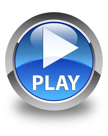 button glossy: Play glossy blue round button