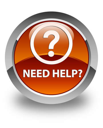 need help: Need help (question icon) glossy brown round button