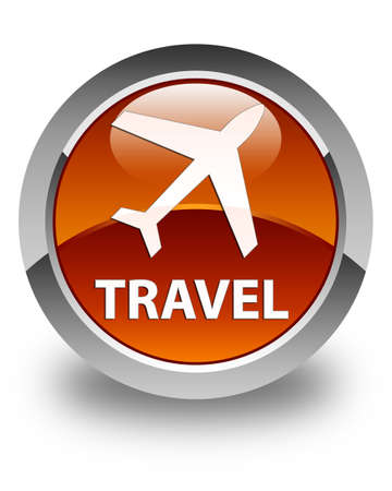 airway: Travel (plane icon) glossy brown round button
