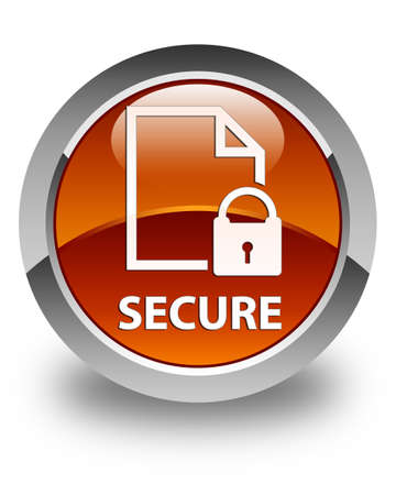 secure files: Secure (document page padlock icon) glossy brown round button