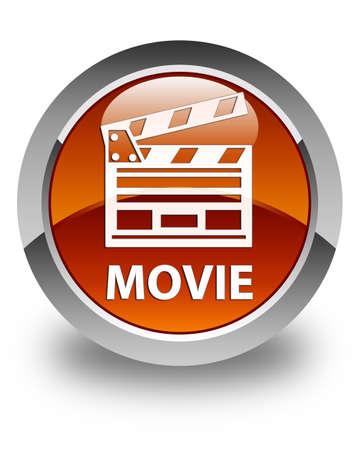 Movie (cinema clip icon) glossy brown round button