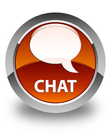 instant message: Chat glossy brown round button Stock Photo