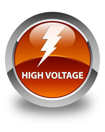 3d lightning: High voltage (electricity icon) glossy brown round button