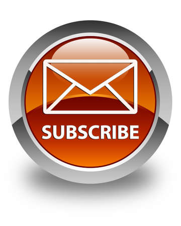article marketing: Subscribe (email icon) glossy brown round button