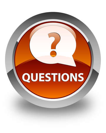 quest: Questions (bubble icon) glossy brown round button Stock Photo