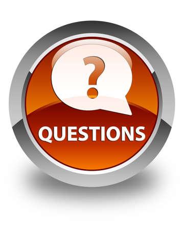 Questions (bulle icône) bouton rond marron glacé