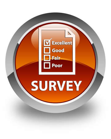 questionnaire: Survey (questionnaire icon) glossy brown round button Stock Photo