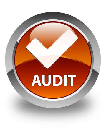 validate: Audit (validate icon) glossy brown round button