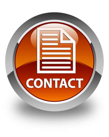 contact page: Contact (page icon) glossy brown round button Stock Photo