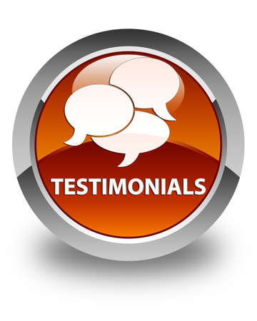 comments: Testimonials (comments icon) glossy brown round button