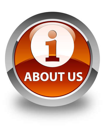 about us: About us glossy brown round button Stock Photo