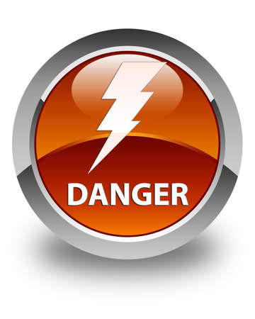 high voltage symbol: Danger (electricity icon) glossy brown round button