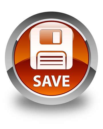 floppy disk: Save (floppy disk icon) glossy brown round button