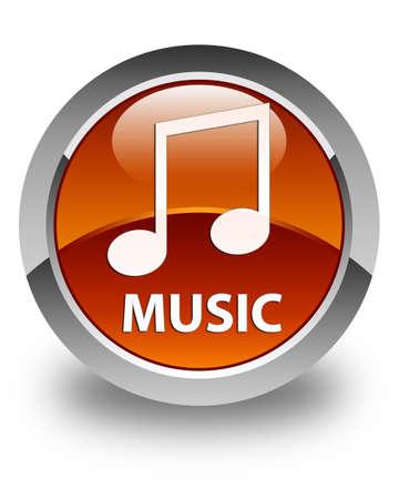 tune: Music (tune icon) glossy brown round button