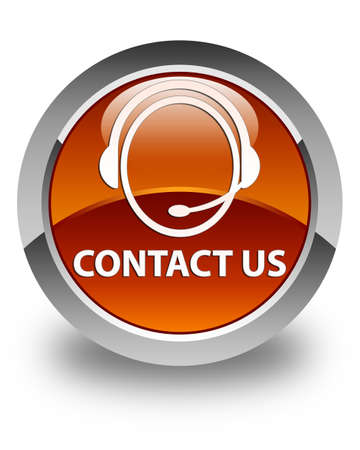 consultants: Contact us (customer care icon) glossy brown round button Stock Photo