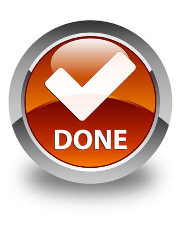 validate: Done (validate icon) glossy brown round button Stock Photo