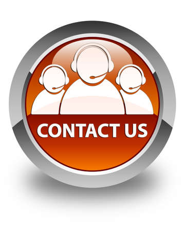 customer care: Contact us (customer care team icon) glossy brown round button Stock Photo
