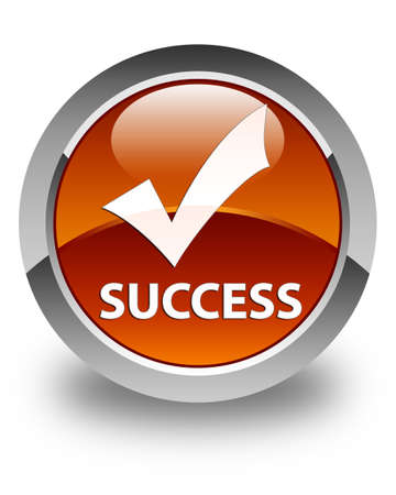 confirmed: Success (validate icon) glossy brown round button Stock Photo