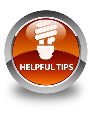 hints: Helpful tips (bulb icon) glossy brown round button
