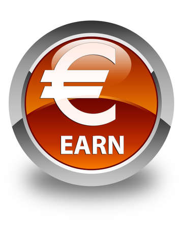 earn: Earn (euro sign) glossy brown round button Stock Photo