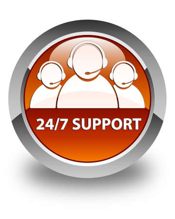 customer care: 247 Support (customer care team icon) glossy brown round button Stock Photo