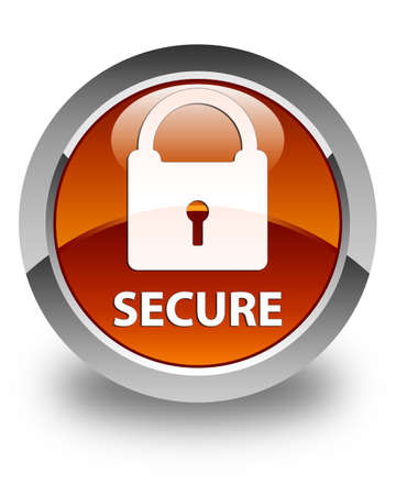 safeguarding: Secure (padlock icon) glossy brown round button Stock Photo