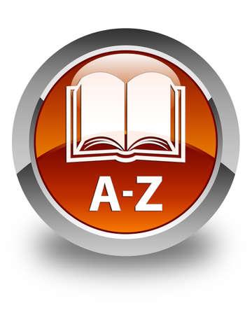 az: A-Z (book icon) glossy brown round button Stock Photo